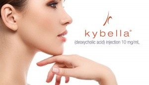 kybella logo with picture of Model's side view