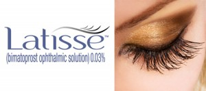 Latisse Logo with image of long lashes on female eye